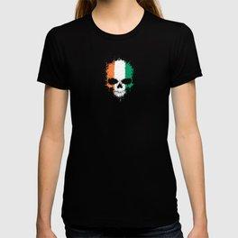 Flag of Ivory Coast on a Chaotic Splatter Skull T-shirt