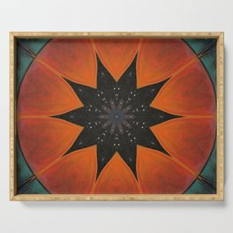 Eclipse // Vibrant Visionary Art Star Pattern Healing Energy Bohemian Orange Teal Magical Chakra Serving Tray