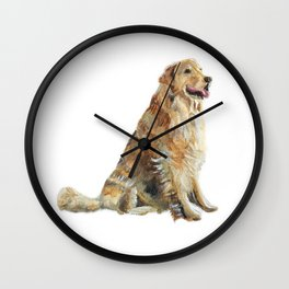 Happy Golden Retriever Wall Clock