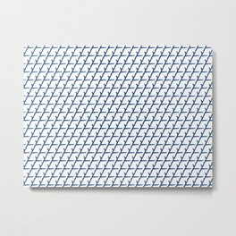 Modernistic Blue and White Angled Pattern Metal Print