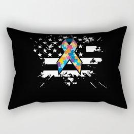 Autism Awareness Gift American Flag Autistic Supporter Rectangular Pillow