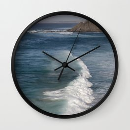 Surf On Wild West Coast Of Portugal Wall Clock