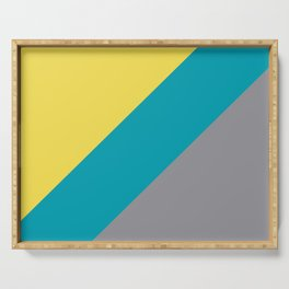 Grey Yellow Aqua Line Design Solid Colors 2021 Color of the Years and Accent Hue Serving Tray