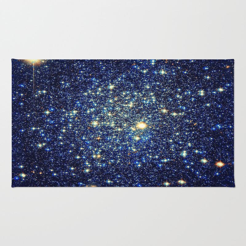 Galaxy Stars : Midnight Blue & Gold Rug by Vintageby2sweet RUG3134367