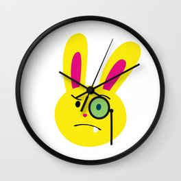 One Tooth Rabbit Emoticons Bunny Face with Monocle Wall Clock