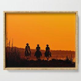 Wild West sunset - Cowboy Men horse riding at sunset Vintage west vintage illustration Serving Tray