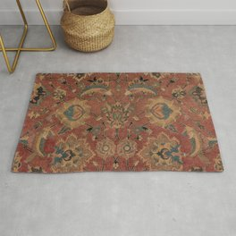 Flowery Boho Rug IV // 17th Century Distressed Colorful Red Navy Blue Burlap Tan Ornate Accent Patte Rug