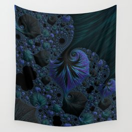 Blue and Black Fractal Wall Tapestry