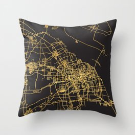 SHANGHAI CHINA GOLD ON BLACK CITY MAP Throw Pillow