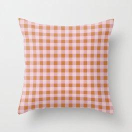 Gingham Pattern - Pink & Orange Throw Pillow