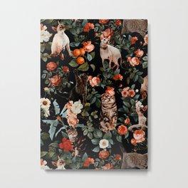 Cat and Floral Pattern II Metal Print