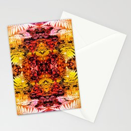 Rust and Gold Fern Patched Fractal Stationery Cards