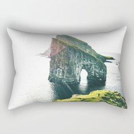 on top of the rock at faroe Rectangular Pillow