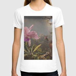 Cattelya Orchid And Three Brazilian Hummingbirds 1 By Martin Johnson Heade | Reproduction T-shirt