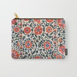 Shakhrisyabz Suzani  Uzbekistan Antique Floral Embroidery Print Carry-All Pouch