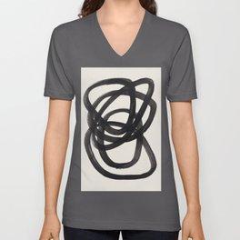 Mid Century Modern Minimalist Abstract Art Brush Strokes Black & White Ink Art Spiral Circles Unisex V-Ausschnitt