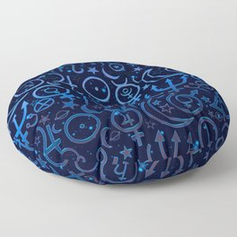 Blue Planetary Pattern Floor Pillow