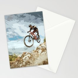 Flying Downhill on a Mountain Bike Stationery Cards