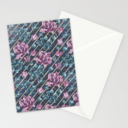 They Only Come Out At Night - Beautiful Abstract Flowers With Golden Stripes Stationery Cards