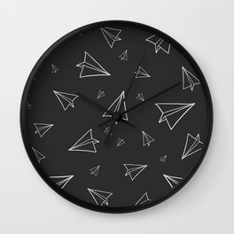 Paper Airplane Pattern | Line Drawing | Black Background Wall Clock
