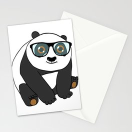 Illustration Of A Cute Panda Tee For Animal Lovers T-shirt Design Black And White Adorable Bear Stationery Cards