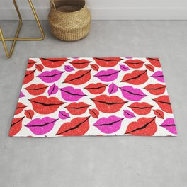 Glittery Pink Red Lips Pattern Valentines Day Rug