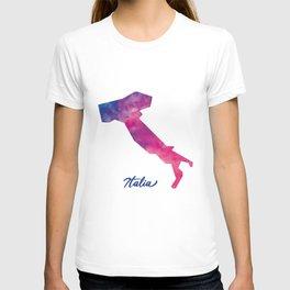 Mappa d'Italia in acquerello T-shirt