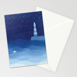 Lighthouse & the paper boat, blue ocean Stationery Cards