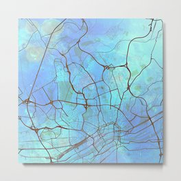 Frankfurt Germany Street Map Art Watercolor Light Blue Metal Print