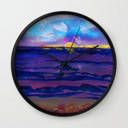 Large golden sunset, ocean, beach abstract Wall Clock