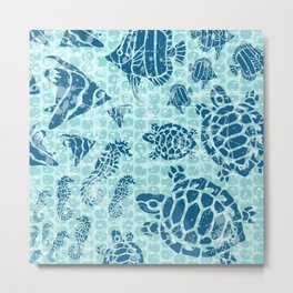Sea Life Print with Fish Turtles and Seahorses in Ocean Blue Teal Metal Print
