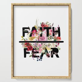 Christian Quote - Faith Over Fear - Cute Floral Watercolor Typography Serving Tray
