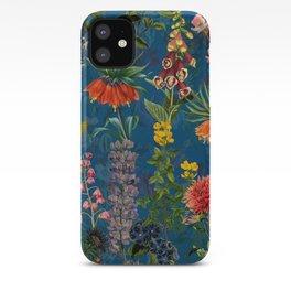 Vintage & Shabby Chic - Blue Midnight Spring Botancial Flower Garden iPhone Case