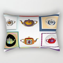 Teapots in Abstract Rectangular Pillow
