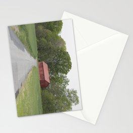 Red Barn By A Patched Road Stationery Cards