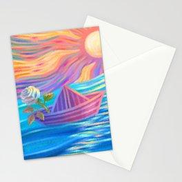 A Single White Rose Stationery Cards