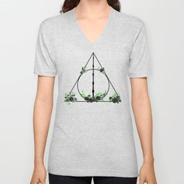 Deathly Hallows in Green and Gray Unisex V-Neck