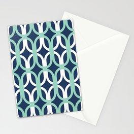 Retro Mid-Century Modern Geometric Oval Lattice Pattern Stationery Cards