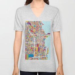 Chicago City Street Map Unisex V-Neck