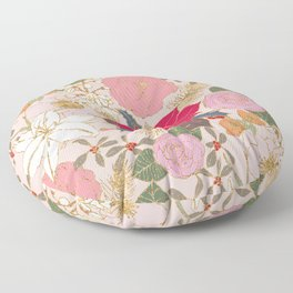 Elegant Golden Strokes Colorful Winter Floral Floor Pillow