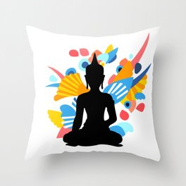 Black Buddha With Colorful Energy Throw Pillow