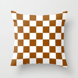 Checkered - White and Brown Throw Pillow