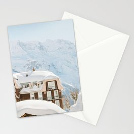Hotel with Snow covered Rooftop in Swiss Alps | Switzerland Mountains | Ski Travel Photography Stationery Cards