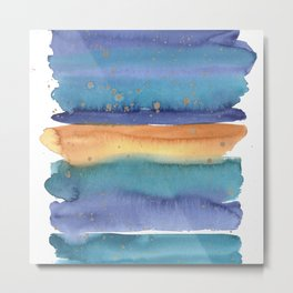 Abstract Watercolor Painting in Turquoise, Blue und Ocker With Copper Splashes Metal Print