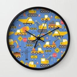 Construction Vehicles Blue Pattern Wall Clock