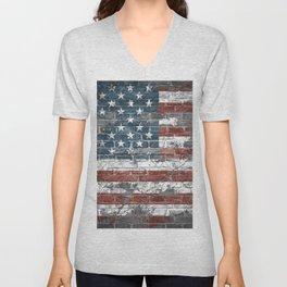 american flag on the brick Unisex V-Neck