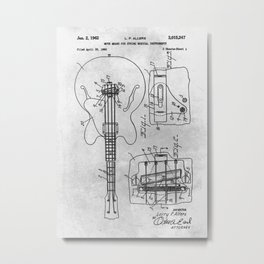 Mute means for electrical music instrument Metal Print