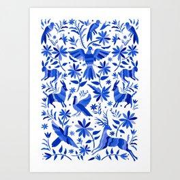 Mexican Otomí Design in Deep Blue Art Print