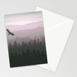 mountain forest in fog and sunrise with stars Stationery Cards