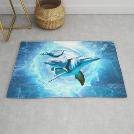 dolphin blue fantasy Rug